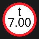 Limitazione del peso 7 tonnellate di icona piana del segno royalty illustrazione gratis