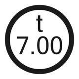 Limitazione del peso 7 tonnellate di linea icona del segno royalty illustrazione gratis