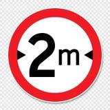 Limite da largura do símbolo 2 m sinal no fundo transparente ilustração do vetor