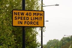 Limite de velocidade novo de 40 MPH na força Imagem de Stock