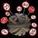 Limite di velocità del segnale stradale Immagine Stock