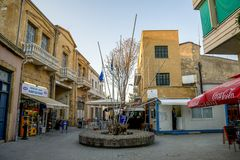 Limite o ponto de verificação do controle de passaporte entre partes do norte e do sul de Nicosia, Chipre Imagem de Stock Royalty Free