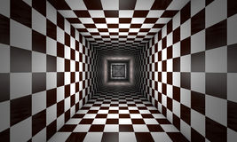Limited consciousness (chess metaphor). Infinity. Chess tunnel. The space and time Royalty Free Stock Photo