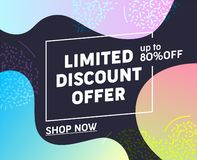 Limited Discount Offer Typography Banner. Buy Goods at Low Price. Super Sale Promotion for Customer or Potential Client. Shopping. With Family on Holiday. Flat royalty free illustration