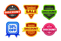 Limited Discount Sale Badges. Six colorful discount and limited sale badges made in Stock Photo