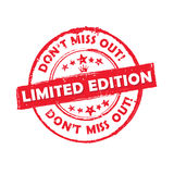 Limited edition Don`t miss out! - grunge red label. / badge / sticker, also for print stock illustration
