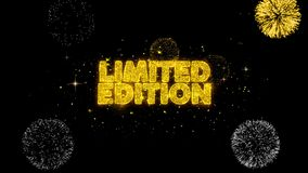 Limited edition golden text blinking particles with golden fireworks display. Limited edition golden greeting text appearance blinking particles with golden royalty free illustration