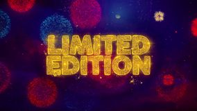 Limited edition greeting text sparkle particles on colored fireworks. Limited edition greeting text with particles and sparks colored bokeh fireworks display 4 k stock illustration