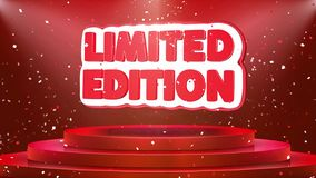Limited Edition Text Animation Stage Podium Confetti Loop Animation. Limited Edition Text Animation on 3d Stage Podium Carpet. Reval Red Curtain With Abstract royalty free illustration
