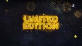 Limited Edition Text Wishes Reveal From Firework Particles Greeting card. Limited Edition Text Typography Reveal From Golden Firework Crackers Particles Night royalty free illustration