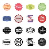 Limited edition, vintage, mega discont, dig sale.Label,set collection icons in black,cartoon style vector symbol stock. Illustration Royalty Free Stock Images