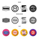 Limited edition, vintage, mega discont, dig sale.Label,set collection icons in black, flat, monochrome style vector. Symbol stock illustration Stock Image