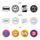 Limited edition, vintage, mega discont, dig sale.Label,set collection icons in black,flat,outline style vector symbol. Stock illustration Stock Photography