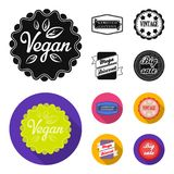 Limited edition, vintage, mega discont, dig sale.Label,set collection icons in black, flat style vector symbol stock. Illustration Royalty Free Stock Image