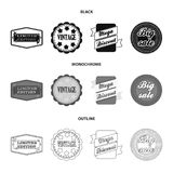 Limited edition, vintage, mega discont, dig sale.Label,set collection icons in black,monochrome,outline style vector. Symbol stock illustration Royalty Free Stock Images
