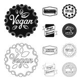 Limited edition, vintage, mega discont, dig sale.Label,set collection icons in black,outline style vector symbol stock. Illustration Royalty Free Stock Images