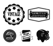 Limited edition, vintage, mega discont, dig sale.Label,set collection icons in black style vector symbol stock. Illustration Royalty Free Stock Photos