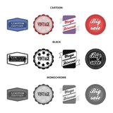 Limited edition, vintage, mega discont, dig sale.Label,set collection icons in cartoon,black,monochrome style vector. Symbol stock illustration Royalty Free Stock Images