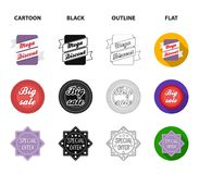 Limited edition, vintage, mega discont, dig sale.Label,set collection icons in cartoon,black,outline,flat style vector. Symbol stock illustration Stock Photography