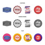 Limited edition, vintage, mega discont, dig sale.Label,set collection icons in cartoon,flat,monochrome style vector. Symbol stock illustration Stock Image