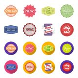 Limited edition, vintage, mega discont, dig sale.Label,set collection icons in cartoon,flat style vector symbol stock. Illustration Royalty Free Stock Photo