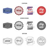 Limited edition, vintage, mega discont, dig sale.Label,set collection icons in cartoon,outline,monochrome style vector. Symbol stock illustration Stock Photo