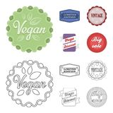 Limited edition, vintage, mega discont, dig sale.Label,set collection icons in cartoon,outline style vector symbol stock. Illustration Royalty Free Stock Images