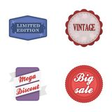 Limited edition, vintage, mega discont, dig sale.Label,set collection icons in cartoon style vector symbol stock. Illustration Stock Photos