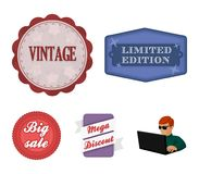 Limited edition, vintage, mega discont, dig sale.Label,set collection icons in cartoon style vector symbol stock. Illustration Royalty Free Stock Photos