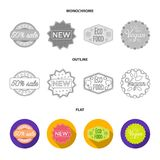 Limited edition, vintage, mega discont, dig sale.Label,set collection icons in flat,outline,monochrome style vector. Symbol stock illustration Stock Image