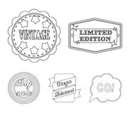 Limited edition, vintage, mega discont, dig sale.Label,set collection icons in monochrome style vector symbol stock. Illustration Stock Photography