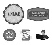 Limited edition, vintage, mega discont, dig sale.Label,set collection icons in monochrome style vector symbol stock. Illustration Royalty Free Stock Image
