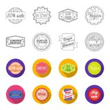 Limited edition, vintage, mega discont, dig sale.Label,set collection icons in outline,flat style vector symbol stock. Illustration Stock Images