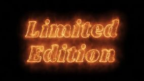 Limited Edition Word Hot Animated Burning Realistic Fire Flame Loop. Limited Edition Word Hot Animated Burning Realistic Fire Flame and Smoke Seamlessly loop royalty free illustration