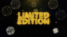 Limited Edition Written Gold Particles Exploding Fireworks Display. Limited Edition Written Gold Glitter Particles Spark Exploding Fireworks Display 4K stock video footage