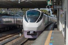 The limited express train Hitachi at Katsuta station Royalty Free Stock Photos