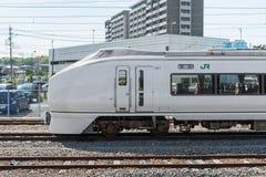 The limited express train Kusatsu at Katsuta station Royalty Free Stock Image