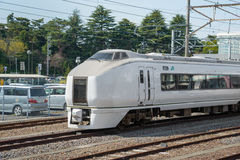 The limited express train Kusatsu at Katsuta station Royalty Free Stock Photo