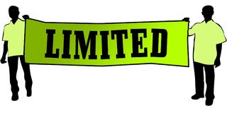 LIMITED on a green banner carried by two men. Illustration graphic Royalty Free Stock Images