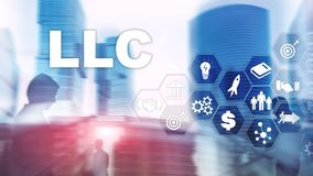 Limited Liability Company concept. Icons on virtual screen. Business Background. Limited Liability Company concept. Icons on virtual screen. Business Background stock photos