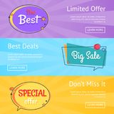 Limited Offer Best Deals Big Sale Set Web Posters Stock Photography