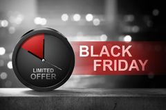 Limited Offer on Black Friday message. Against blured background royalty free stock images