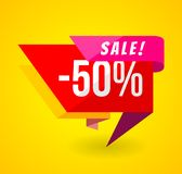 Limited Offer Mega Sale banner. Sale poster. Big sale, special offer, discounts, 50 off. Vector illustration Royalty Free Stock Image