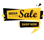 Limited Offer Mega Sale banner. Sale poster. Big sale, special offer, discounts, 50% off. Vector illustration. Limited Offer Mega Sale banner. Sale poster. Big Stock Illustration