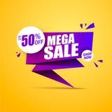 Limited Offer Mega Sale banner. Sale poster. Big sale, special offer, discounts, 50% off. Vector illustration. Limited Offer Mega Sale banner. Sale poster. Big Stock Photos
