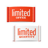 Limited offer and quantity clothing labels Stock Image