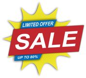Limited offer sale up to 80 % price web tag. Modern comic style price tag on white background stock illustration