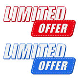 Limited offer in two colors labels, flat design Stock Image