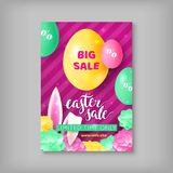 Limited time card easter sale. Colorful banner with discounts for festive event. Vector illustration with eggs and rabbis ears Stock Photos