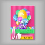 Limited time card easter sale. Colorful banner with discounts for festive event. Vector illustration with eggs and rabbis ears Stock Photography